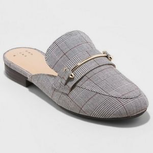 A new day plaid backless loafers slide on shoes